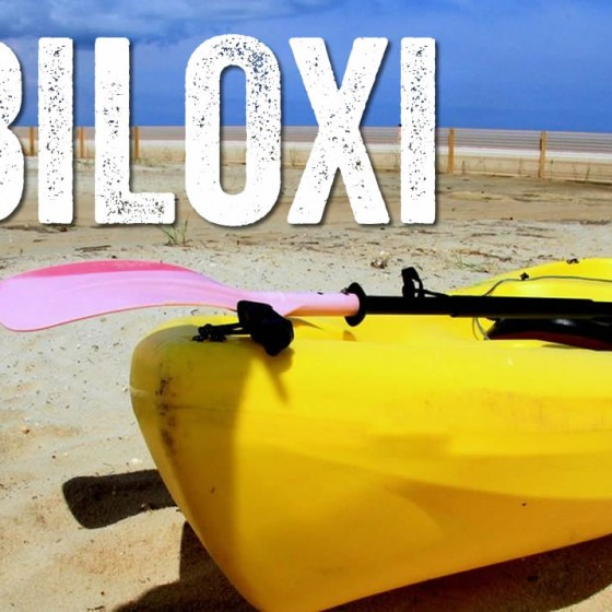 Kayak fishing off Biloxi Beach along coastal Mississippi.